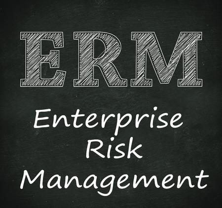 Illustration design of concept of erm - enterprise risk management on black chalkboard Stock Photo