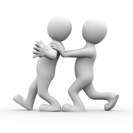 hands behind back: 3d rendering of person pushing his friends for encouragement.  Concept of friendship, help, support, love. 3d white person people man. Stock Photo