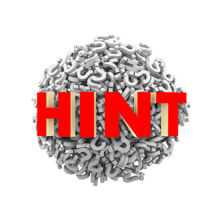 hint: 3d rendering of word hint on sphere ball made up of question mark symbol sign Stock Photo