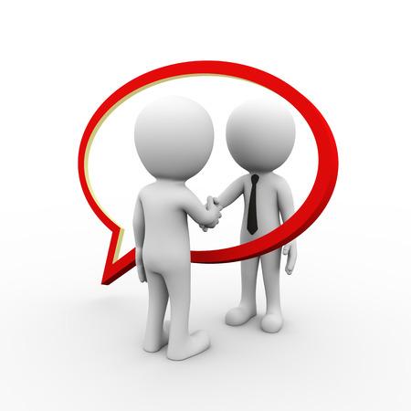 vendedores: Representación 3D de la burbuja del discurso y la gente de negocios apretón de manos. 3d blanco, persona, gente hombre