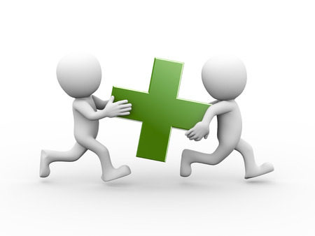 3d rendering of people running and carrying green plus sign symbol.  3d white person people man Banque d'images