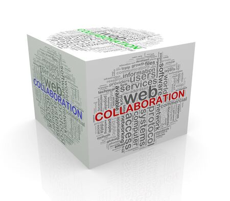 cube box: 3d rendering of cube box of wordcloud word tags of collaboration