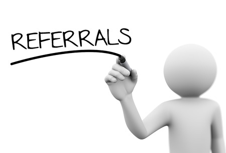 referrals: 3d rendering of man writing referrals with marker on transparent glass screen. 3d white people character Stock Photo
