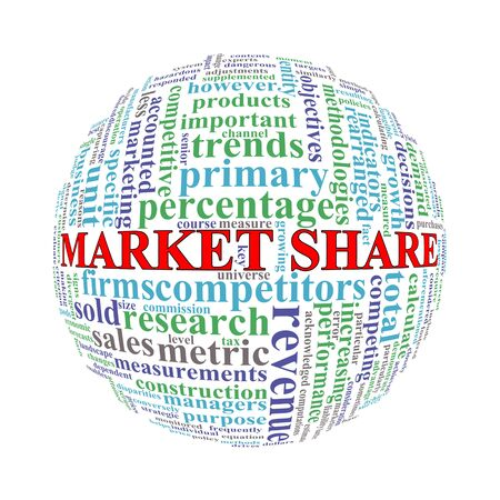 share market: Illustration of word tags wordcloud ball sphere of market share