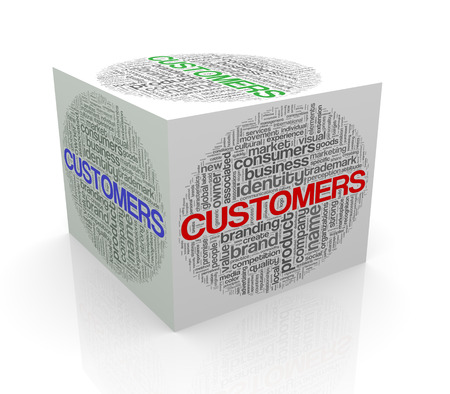 consumer society: 3d rendering of cube box of wordcloud word tags of customers Stock Photo