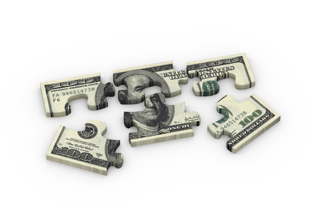 detach: 3d rendering of detach dollar currency puzzle pieces