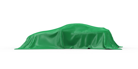 intrigue: 3d rendering of sport car vehicle covered with green fabric cloth Stock Photo