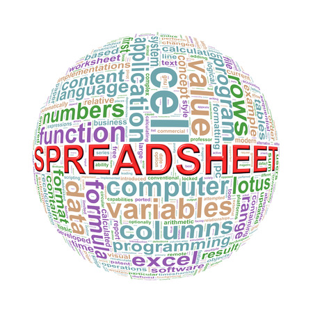 calculated: Illustration of word tags wordcloud ball sphere of spreadsheet Stock Photo