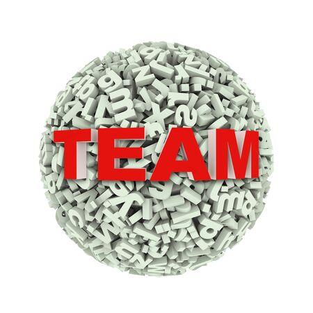 innovate: 3d rendering of word team on sphere ball made up of random alphabet character letter