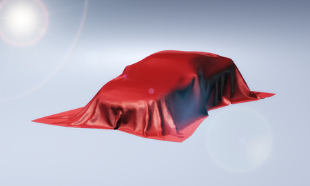 intrigue: 3d rendering of presentation of new car covered with red fabric cloth