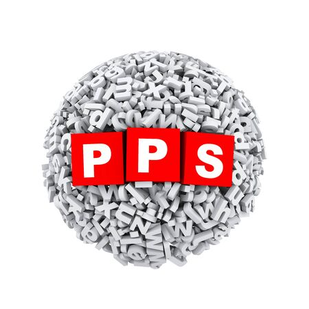 advertiser: 3d rendering of pps cubes boxes inside sphere ball made up of random alphabet character letter Stock Photo