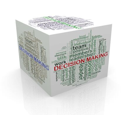 assumption: 3d rendering of cube box of wordcloud word tags of decision making Stock Photo