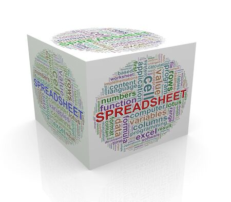 cube box: 3d rendering of cube box of wordcloud word tags of spreadsheet