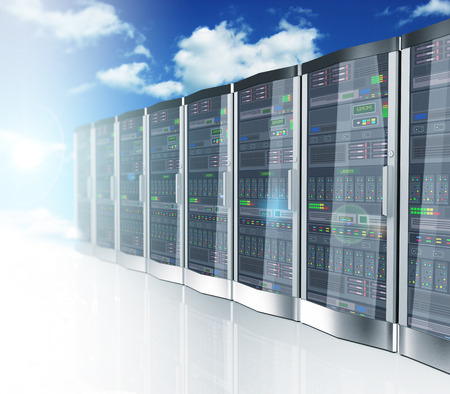 datacenter: 3d rendering of cloud computing and computer networking concept. Rows of network servers on blue sky clouds background