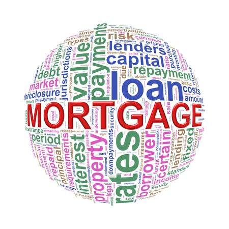mortgage rates: Illustration of word tags wordcloud ball sphere of mortgage