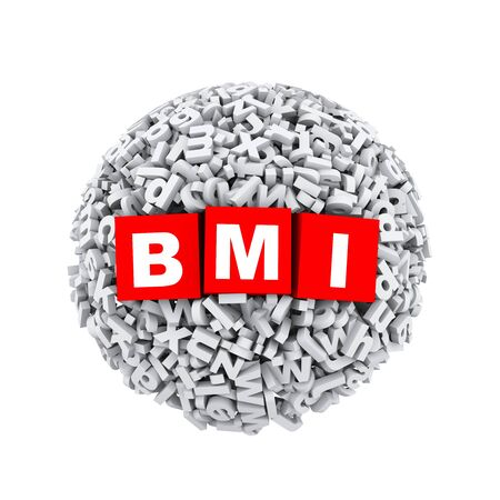 BMI: 3d rendering of bmi cubes boxes inside sphere ball made up of random alphabet character letter