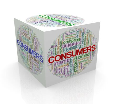 cube box: 3d rendering of cube box of wordcloud word tags of comsumers Stock Photo