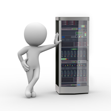 white person: 3d rendering of man standing with powerful network computer server system machine. 3d white person people man