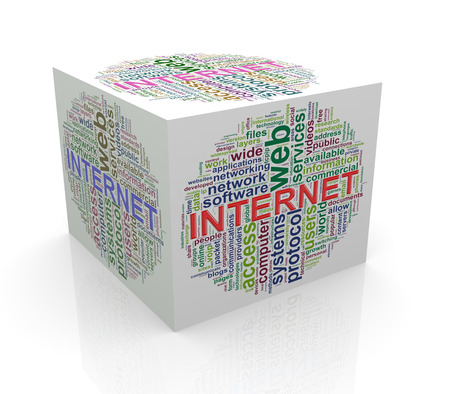 tcp: 3d rendering of cube box of wordcloud word tags of  internet Stock Photo