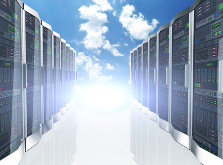 server room: 3d rendering of rows of network servers machine farm cloud computing hardware on blue sky background