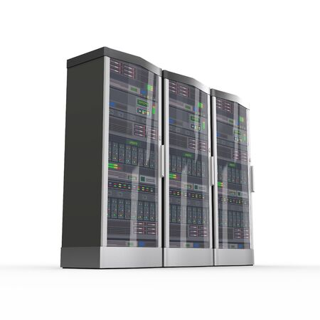 server farm: 3d rendering of powerful three computer network servers system machine