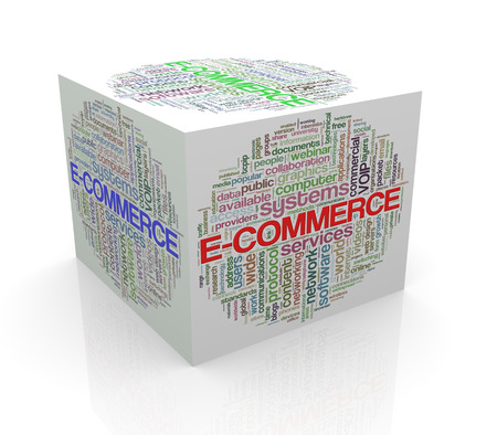 cube box: 3d rendering of cube box of wordcloud word tags of ecommerce