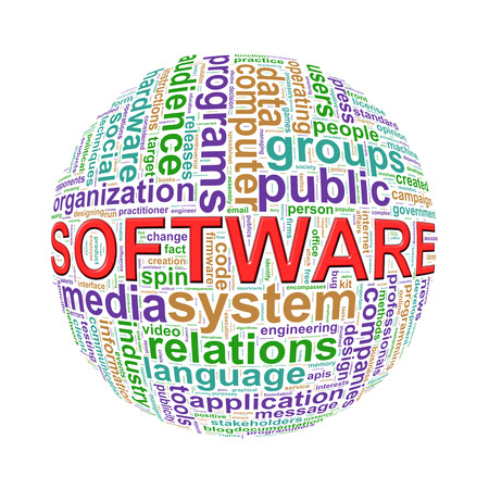 programmed: Illustration of word tags wordcloud ball sphere of software Stock Photo