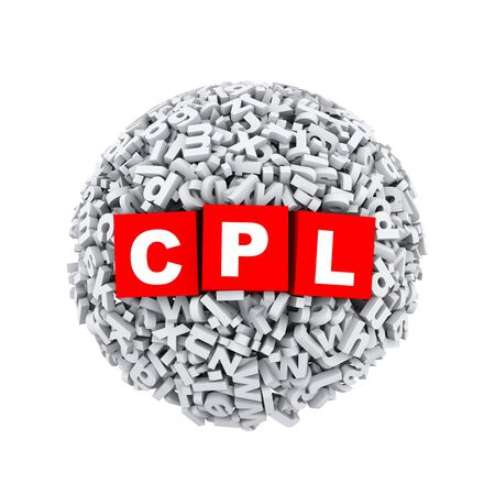 cpl: 3d rendering of cpl cubes boxes inside sphere ball made up of random alphabet character letter
