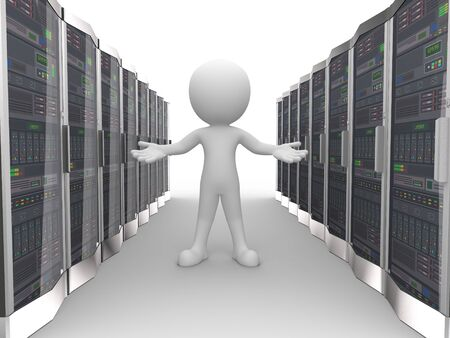 server room: 3d rendering of man with welcome gesture in network computer data server system datacenter room. 3d white person people man.