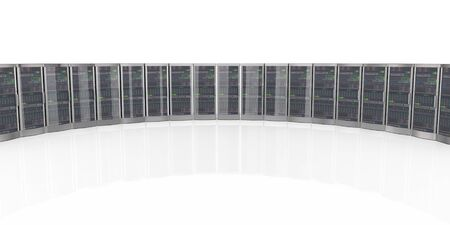 datacenter: 3d rendering of powerful computer networking servers in datacenter Stock Photo