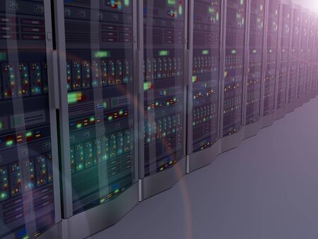 datacenter: 3d rendering of night vision of rows of powerful computer network servers system machine