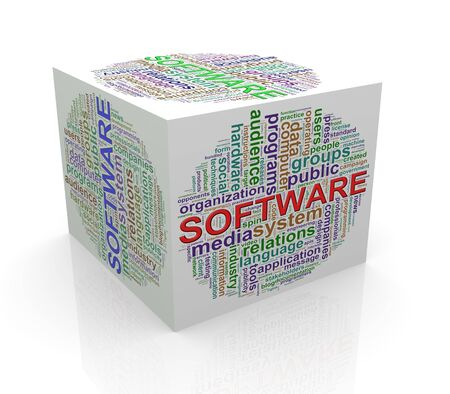 programmed: 3d rendering of cube box of wordcloud word tags of software