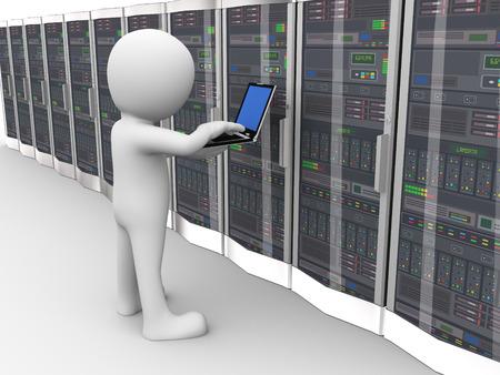 ネットワーク コンピューター データ サーバー システム データ センター ルームでの作業ノート パソコンを持つ男の 3 d レンダリングします。3 d の