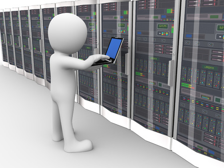 3d rendering of man with laptop working in network computer data server system datacenter room. 3d white person people man