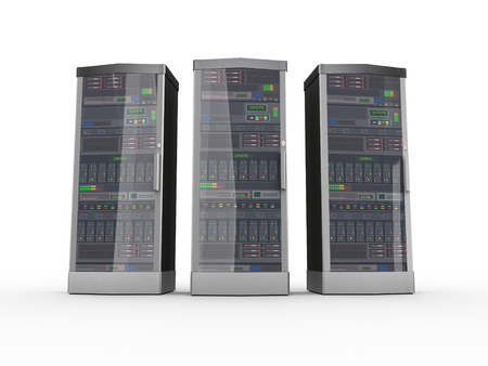 server farm: 3d rendering of three powerful computer networking servers system machine