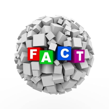 in fact: 3d rendering of abstract cubes boxes sphere ball of word text fact
