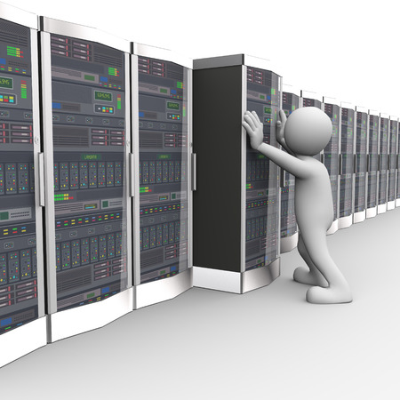 white person: 3d rendering of man adding new data server system in computer network datacenter room. 3d white person people man