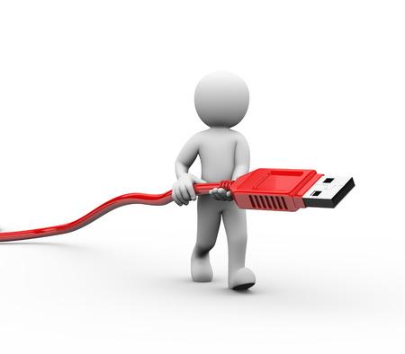 cable red: Representación 3D de hombre que lleva usb cable de interfaz de conector. 3d blanco, persona, gente hombre Foto de archivo