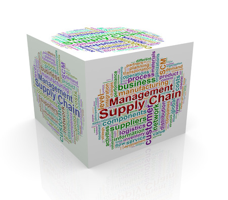 scm: 3d rendering of cube box of wordcloud word tags of scm - supply chain management Stock Photo