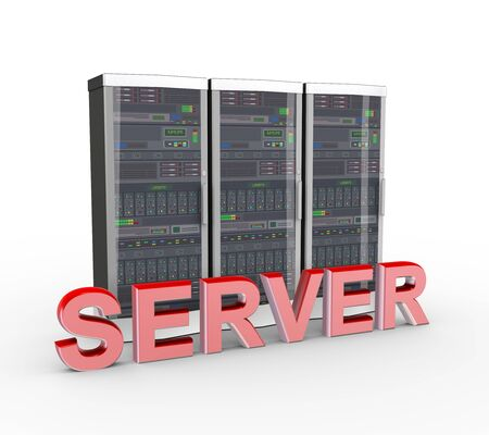 mainframe computer: 3d rendering of powerful computer network servers system machine and word text server Stock Photo