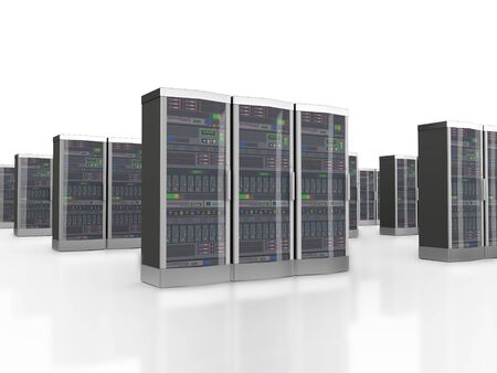 datacenter: 3d rendering of powerful computer set of networking data servers in datacenter