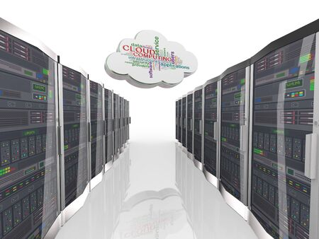 computing machine: 3d rendering of wordcloud word tags of cloud computing and network servers computer machine farm datacenter Stock Photo