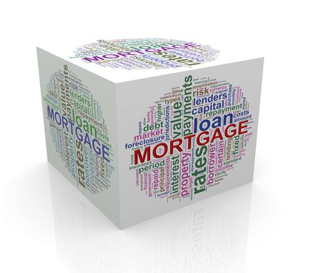 granting: 3d rendering of cube box of wordcloud word tags of  mortgage
