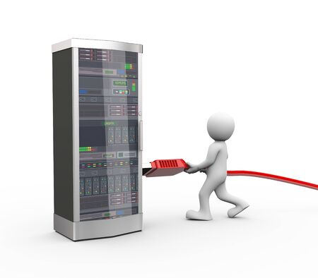 networking cables: 3d rendering of man connecting usb connector interface to powerful computer networking server system machine Stock Photo