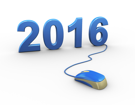 scrollwheel: 3d rendering of computer mouse connected to happy new year 2016