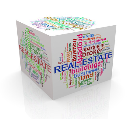 word cloud: 3d rendering of cube box of wordcloud word tags of real estate