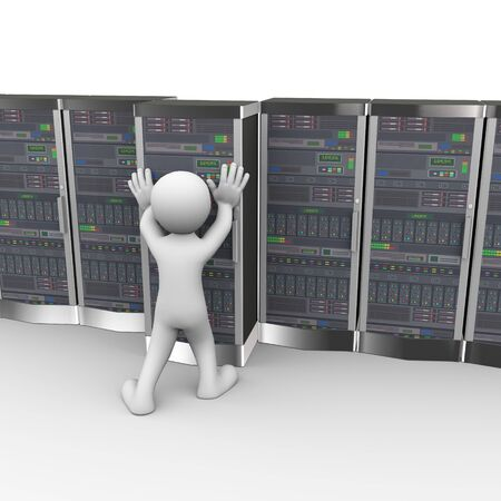 push room: 3d rendering of man pushing data server system in computer network datacenter room. 3d white person people man
