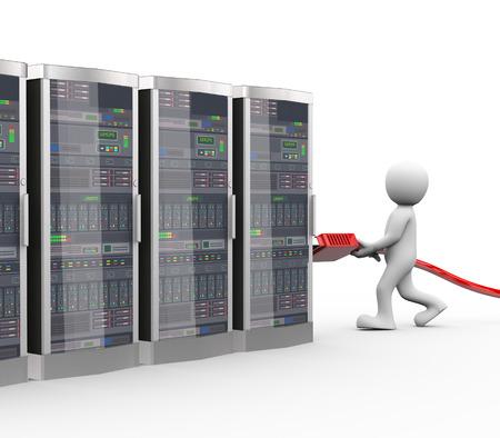Rendering 3D di uomo di collegamento connettore USB interfaccia di rete del computer macchine del sistema server. 3d bianco persona persone uomo Archivio Fotografico - 43693427