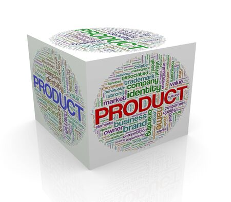 branded product: 3d rendering of cube box of word tags wordcloud  of product