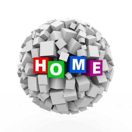 domicile: 3d rendering of abstract cubes boxes sphere ball of word text home